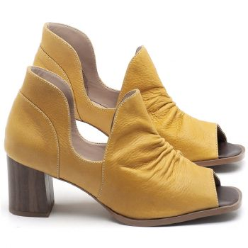 Sandália Salto em couro Amarelo - CÓDIGO - 3705