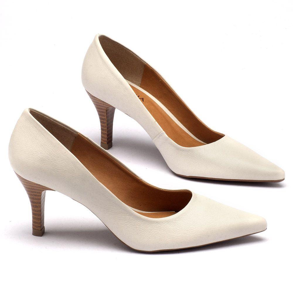 e48486053 Scarpin Salto Médio em couro Off-White 9369   Laranja Lima Shoes
