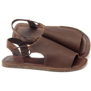 Rasteira Flat em couro marrom - Código - 141043