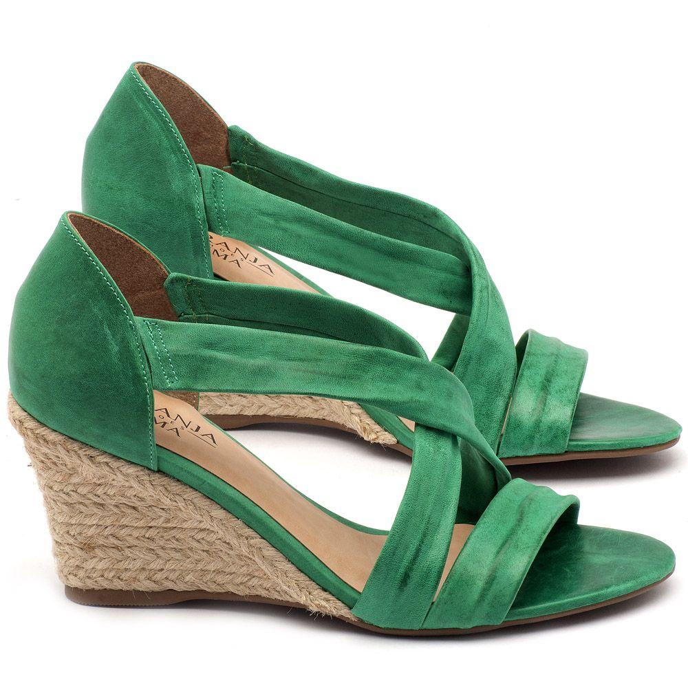 190e034efa Anabela Corda com salto de 8cm em couro verde - Código - 9422 ...