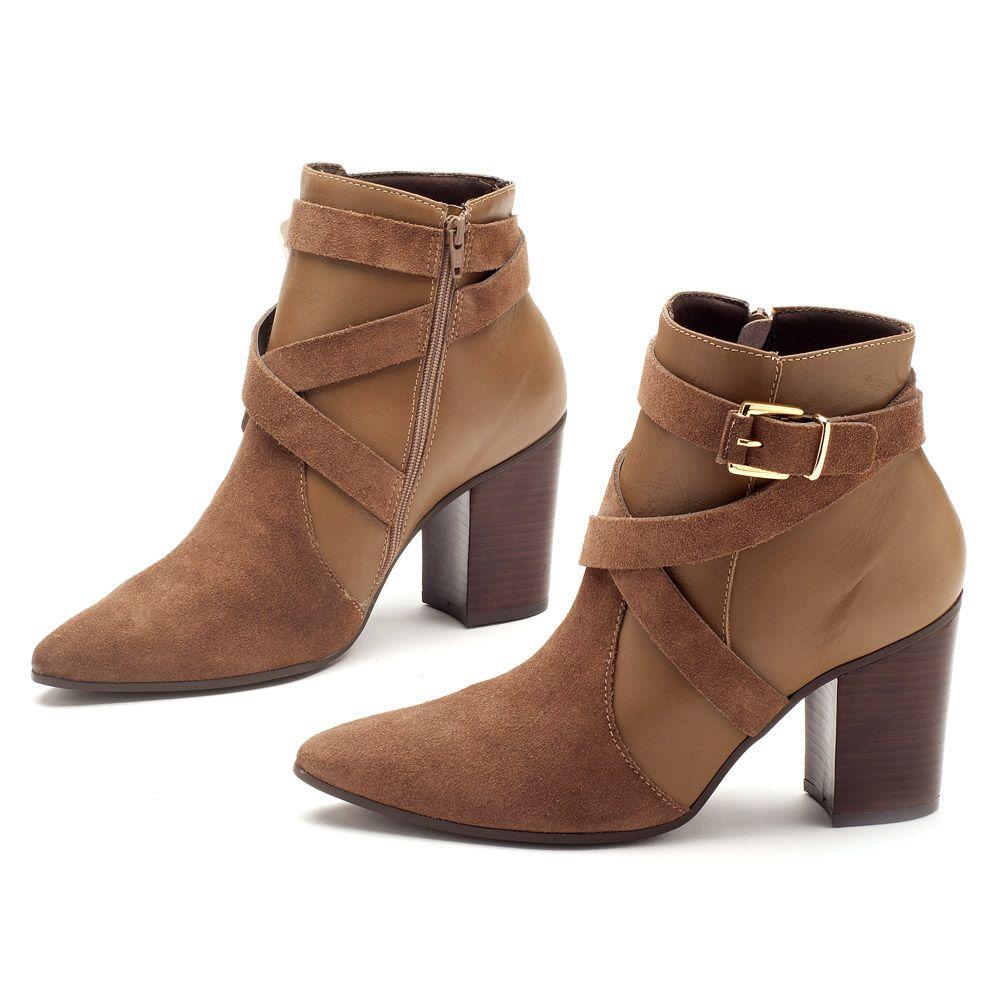 fdd19dec1 Bota Cano Curto Fendi Cintos e Salto de 8cm 102102   Laranja Lima Shoes