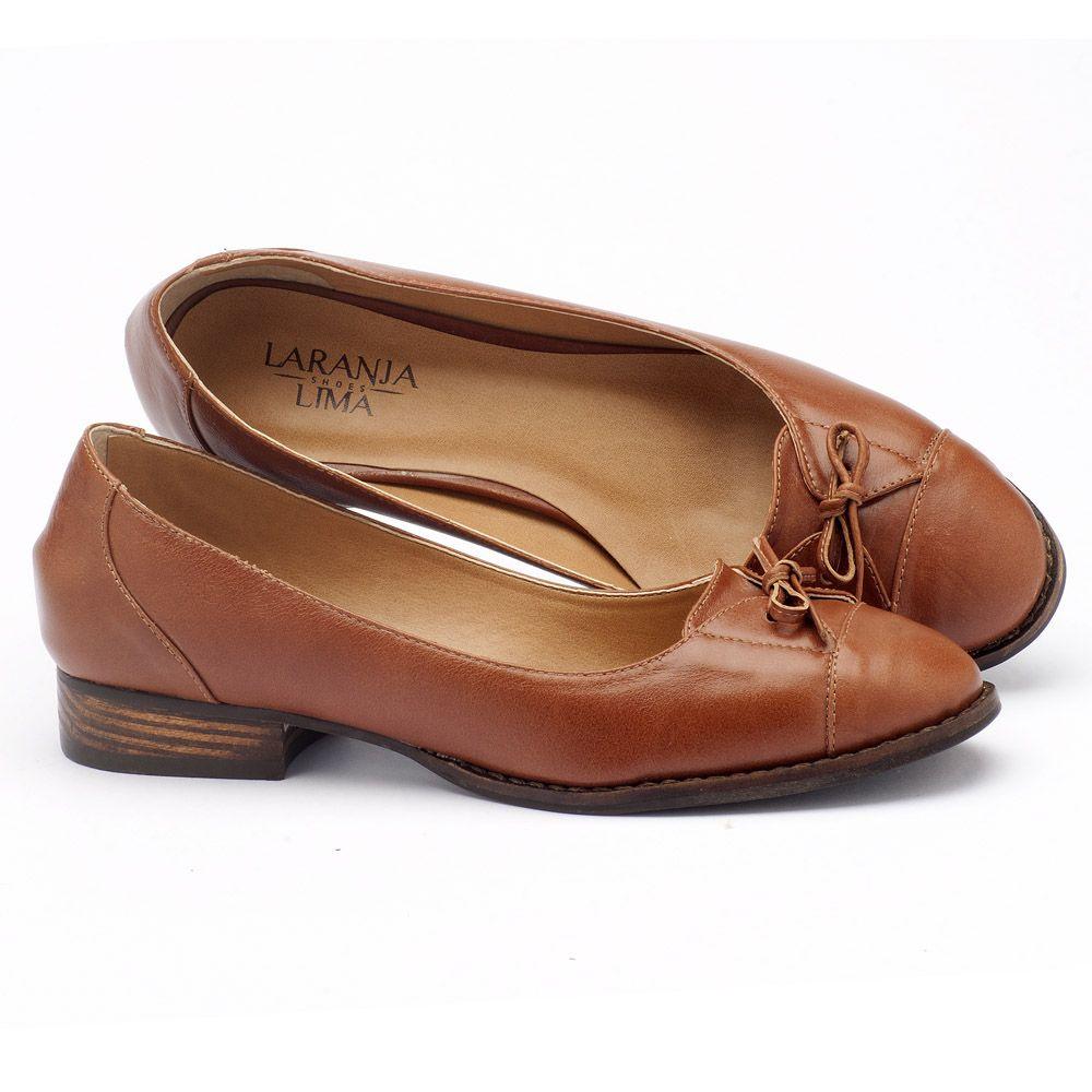 73b8d8bb4 Sapato Retro Modelo Clássico com salto de 2cm em couro caramelo 9375 ...