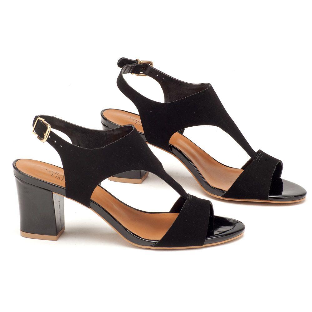 93736f5864 Sandália Salto Medio de 7cm preta 102116 | Laranja Lima Shoes