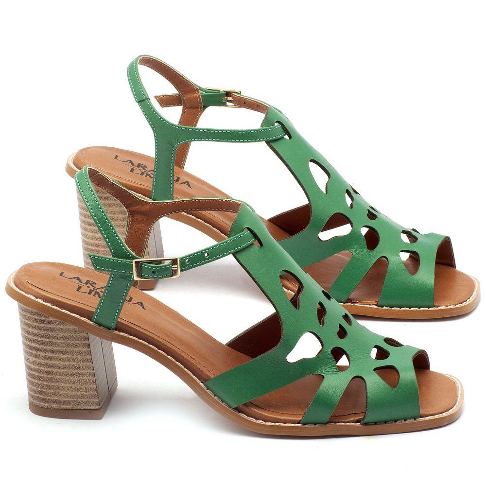 ba94367d0 Sandália Salto Médio de 6cm em couro verde - Código - 3508   Laranja ...