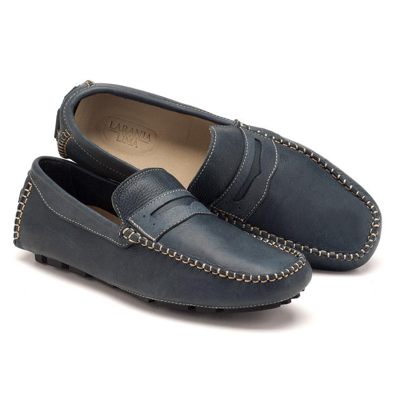 344f163d27266 Mocassim Masculino Casual Marinho Gravata 122005   Laranja Lima Shoes