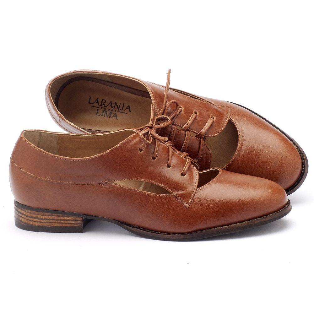 92605bc6b Sapato Retro Estilo Oxford com salto de 2cm em couro caramelo 9377 ...