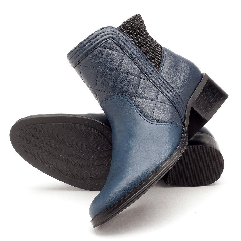 d56e132f4e ... Bota Cano Curto Azul Marinho com Ziper Lateral 107346 ...