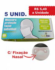 Máscara de Proteção Facial Individual com fixação nasal de Silicone - Caixa com 5 unidades