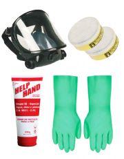 Combo EPIs com Máscara de Face Inteira + Par de Filtros para Vapores Orgânicos + Creme de Proteção para a Pele + Par de Luvas Nitrílicas