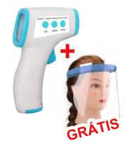 Termômetro Digital com Infravermelho para Medição Corporal + Máscara Face Shield de Proteção Facial Individual