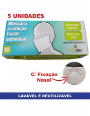 Máscara de Proteção Facial Branca Individual Lavável e Reutilizável com fixação nasal de Silicone - Caixa com 5 unidades