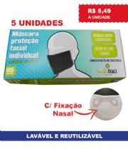 Máscara de Proteção Facial Individual Lavável e Reutilizável com fixação nasal de Silicone - Caixa com 5 unidades - PRETA
