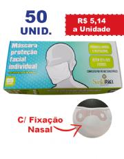 Máscara de Proteção Facial Individual com fixação nasal de Silicone - 10 Caixas com 5 unidades cada