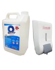 Kit Álcool Gel 70% Para as Mãos 5 Litros + Dispenser com Reservatório para Álcool Gel 800ml