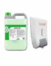Álcool Gel 70% Para as Mãos Galão 5 Litros + Dispenser com Reservatório para Álcool Gel 800ml