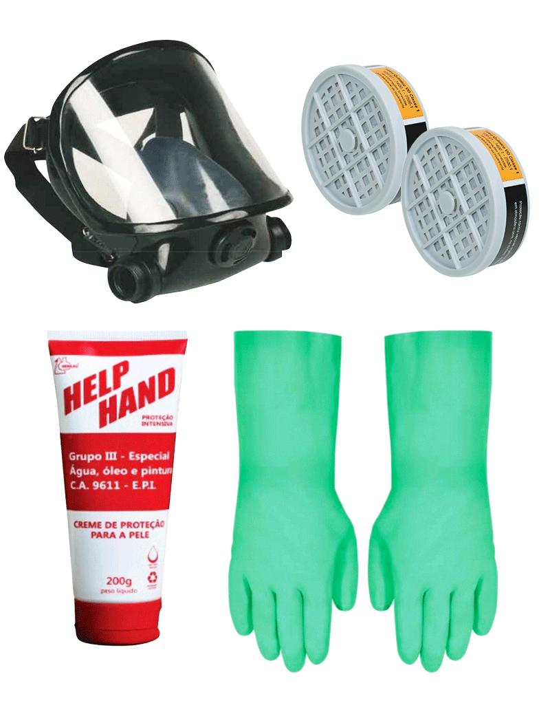 4d8322445cd50 Combo EPI - Máscara + Filtros VO + Creme Protetor + Luvas Nitrílicas ...