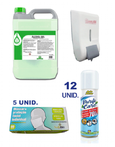 Combo com Álcool Gel 70% 5 lts + Dispenser para Álcool Gel + Máscara Facial Individual 5 unid + Higienizador e Desinfetante Spray com Álcool Etílico 70°GL 12 unid