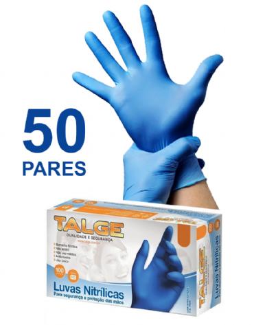 Caixa de Luvas Nitrílicas Azuis com 50 Pares Tamanho G
