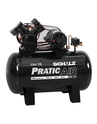 Compressor de Ar Monofásico - 120 psi - 10 PCM - 100 Lts - PRATIC AIR - Schulz