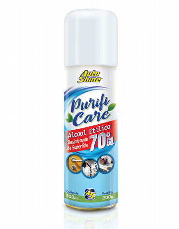 Higienizador e Desinfetante de Superfície Spray com Álcool Etílico 70°GL de 300ml Purifi Care AutoShine