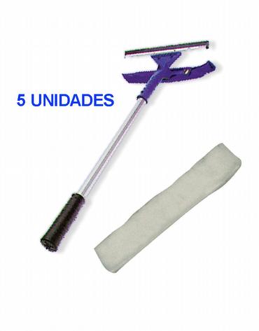 Kit 5 Rodos Lavador/Limpador 25 cm + Luva para Lavador Limpador 25cm BRINDE