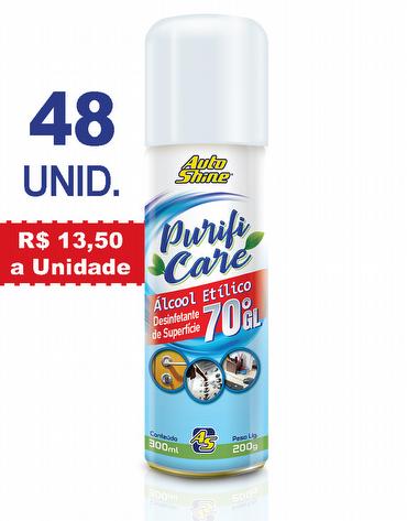 Combo com 4 caixas do Higienizador e Desinfetante de Superfície Spray com Álcool Etílico 70°GL de 300ml Purifi Care AutoShine