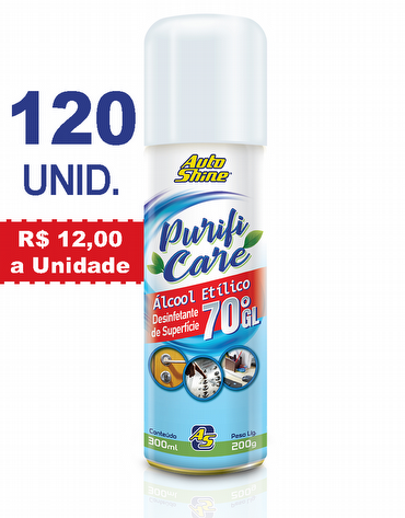 Combo com 10 Caixas do Higienizador e Desinfetante de Superfície Spray com Álcool Etílico 70°GL de 300ml Purifi Care AutoShine
