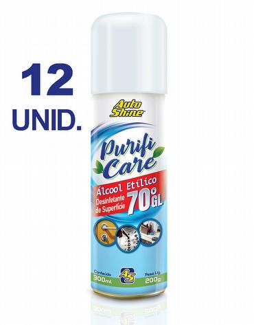 Caixa com 12 Unidades do Higienizador e Desinfetante de Superfície Spray com Álcool Etílico 70°GL de 300ml Purifi Care AutoShine