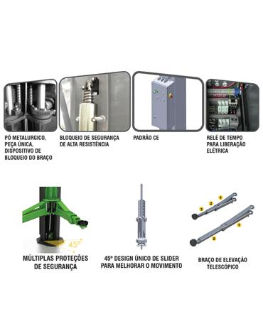 Elevador Automotivo Assimétrico Eletro Hidráulico Trave 4 Toneladas Vão Livre  1HP MAH-1005 - Mahovi