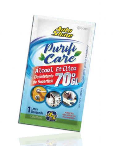 Caixa com 50 Sachês de Lenço Umedecido Desinfetante com Álcool 70 Autoshine