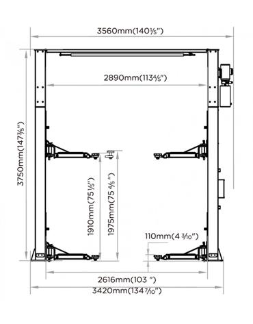 Elevador Automotivo Eletro Hidráulico Trave 4 Toneladas Vão Livre 3HP MAH-1004 - Mahovi