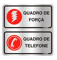 Placa de Aviso Quadro de Força e Telefone 16x16cm - C16028a - Indika