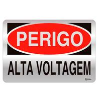 Placa de Aviso Perigo, Alta Voltagem 16x25cm - C25015 - Indika