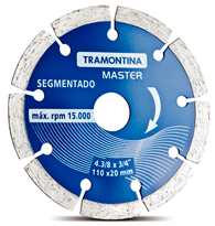 Disco de Corte Diamantado Segmentado 110x 20mm - 4.3/8 X 3/4 - 42595/104 - Tramontina