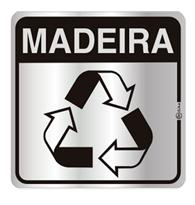 Placa de Aviso Reciclagem Madeira 16x16cm - C16029 - Indika