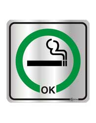 Placa de Aviso Área Para Fumantes 16x16cm - C16012 - Indika