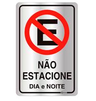 Placa de Aviso Não Estacione Dia e Noite 16x25cm - C25008 16x25 - Indika