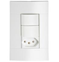 Conjunto Com 2 Interruptores Simples + 1 Tomada 2p + T Pb 10a Com Placa Branco - Prm 44721  - Schneider - Prime Lunare