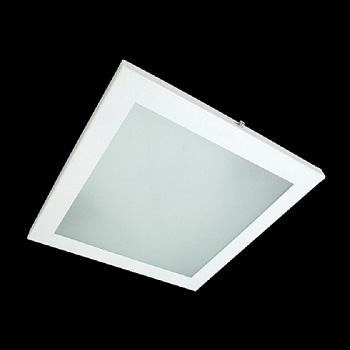 Luminária Sobrepor Quadrado Branco 2 Lâmpadas 15w E27 Vidro Jateado - 485s E27 - Spot Jaguara