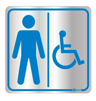 Placa de Aviso Sanitário Masculino/deficiente 16x16cm - C16003 16x16 - Indika