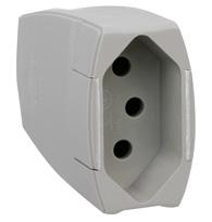 Plug Femea Prolongado Monobloco 2p + T Pb (padrão Brasileiro) 10a 250v Cinza Saída Axial - 615824 - Pial Legrand