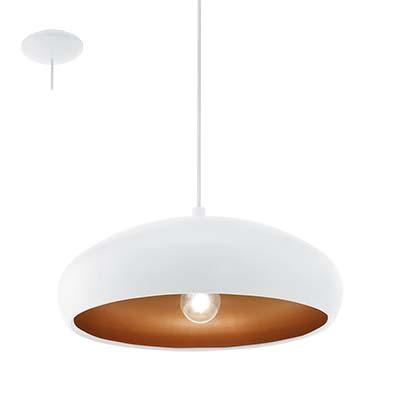 Luminária Pendente Mogano Branco e Cobre Para 1 Lâmpada E27, Eglo