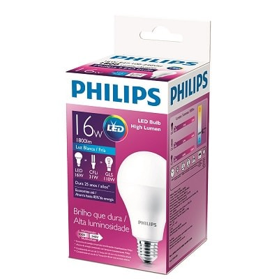 Lâmpada Led High Lumen Alta Potência 16w E27 Bivolt, Philips