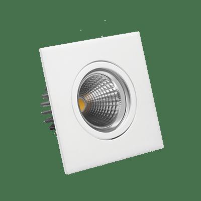 Luminária Led Quadrada de Embutir Dicróica 5w 3000k Luz Branca Amarelada Bivolt 330 Lúmens 432877 Brilia