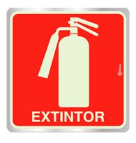 Placa de Aviso Extintor Luminescente 16x16 - F16005 - Indika