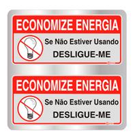 Placa de Aviso Economize Energia 16x16cm - C16027 - Indika