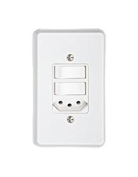 Conjunto Com 2 Interruptores Paralelos + 1 Tomada 2p + T Pb Retangular Embutir Com Placa Branco - Prm703b -schneider - Prime Toc