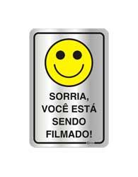 Placa de Aviso Sorria, Você Está Sendo Filmado 16x25cm - C25011 16x25 - Indika