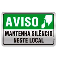 Placa de Aviso Mantenha Silêncio Neste Local 16x25cm - C25024 - Indika