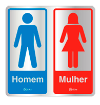 Placa de Aviso Sanitário Masculino/feminino 16x16cm - C16007 16x16 - Indika